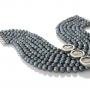Многоредно колие от черни естествени перли и три сребърни монети Фаустина Млада 1