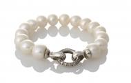 Красива гривна от сребро и бели, естествени перли
