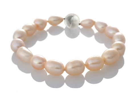 Елегантна гривна с розови, овални, естествени перли