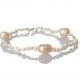 Нежна гривна от естествени, бели и розови перли 1