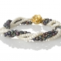 Нежна гривна от бели и черни естествени перли 1