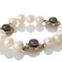 Гривна от сребро и бели и черни, естествени перли 1