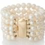 Класическа гривна от пет реда естесествени, бели перли 1