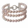 Гривна от три реда естествени, лилави перли и сребро 1