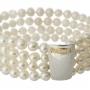 Гривна от четири реда естествени, бели перли и сребро 1