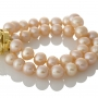 Красива, двуредна гривна с естествени, розови перли 1