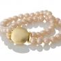 Класическа, двуредна гривна с естествени, розови перли 1