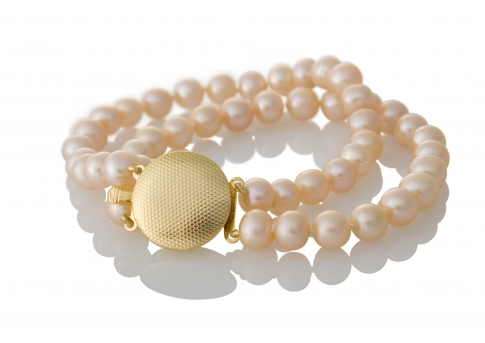 Класическа, двуредна гривна с естествени, розови перли