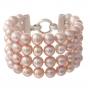 Гривна от четири реда естествени, лилави перли и сребро 1