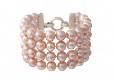 Гривна от четири реда естествени, лилави перли и сребро