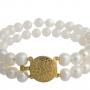 Красива, класическа гривна с бели, естествени перли 1