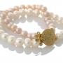 Двуредна гривна с бели и розови, естествени перли 1