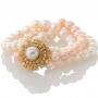 Красива гривна от три реда естествени, бели и розови перли 1