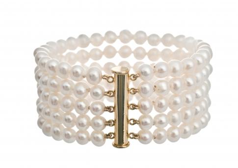 Гривна от пет реда естествени, бели перли