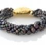 Стилна гривна от черни, естествени перли 1