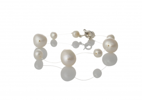 Гривна от дребни и едри естествени бели перли