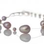 Нежна гривна от естествени перли в лилав цвят 1