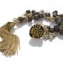 Гривна от черни и златни, естествени перли на сърмен конец 1
