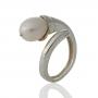 Сребърен пръстен с красива, бяла, овална, естествена перла 1