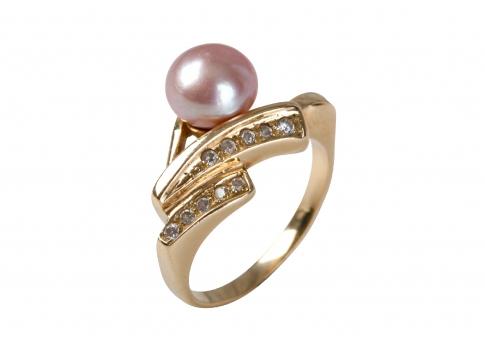 Изискан сребърен прсътен с блестяща естествена перла и камъни