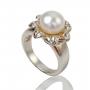 Сребърен пръстен с едра, бяла, естествена перла 1