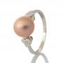 Нежен сребърен пръстен с розова естествена перла 1