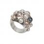 Уникален перлен пръстен в сребро с различни перли и камъни 1