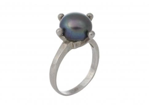 Стилен пръстен с красива едра естествена перла