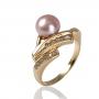 Красив, златен пръстен с циркони и естествена, розова перла 1