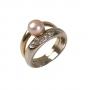 Красив златен пръстен с естествена перла и камъни 1