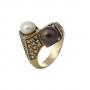 Екстравагантен златен пръстен допълнен с естествени перли и камъни 1