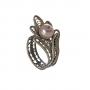 Изящен пръстен от сребърен филигран и естествена перла 1
