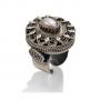 Величествен пръстен от сребърен филигран и естествена перла 1