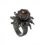 Ръчно изработен пръстен от сребърен филигран с голяма естествена перла 1