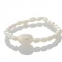 Нежен пръстен с бели, естествени перли 1