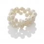 Плетен пръстен с бели, естествени перли 1