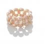 Плетен пръстен с естествени, розови перли 1