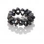 Плетен пръстен с черни, естествени перли 1
