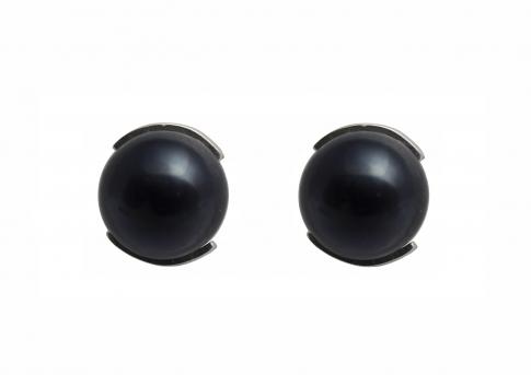 Сребърни обеци с едри черни естествени перли