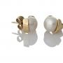 Златни обеци с едри бели естествени перли 1