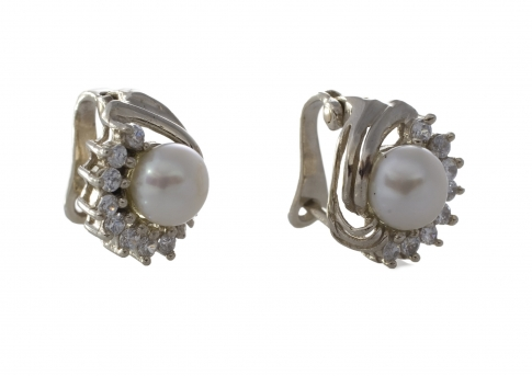 Елегантни сребърни обеци с перли и камъни