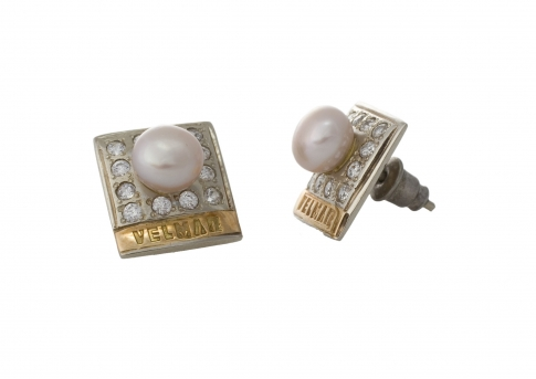 Елегантни обеци, в комбинация от сребро и злато, циркони и бели, естествени перли