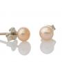 Класически обеци с естествена перла и сребърен щифт 2