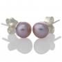 Нежни обеци с лилава, естествена перла и сребърен щифт 1
