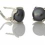 Елегантни сребърни обеци с едри, черни, естествени перли 1