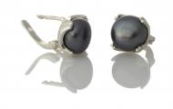 Елегантни сребърни обеци с едри, черни, естествени перли