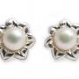 Сребърни обеци с красиви, едри, бели перли 1
