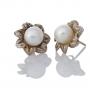 Сребърни обеци с красиви, едри, бели перли 2