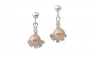 Обеци от сребро, циркони и естествена, розова перла