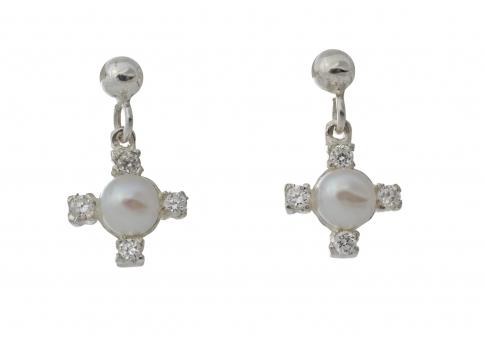 Обеци от сребро, циркони и естествена, бяла перла